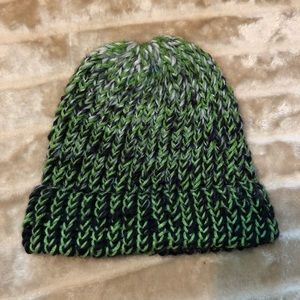 Handmade green and black knit beanie